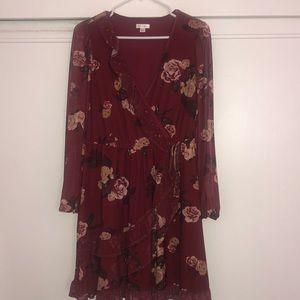 NWOT Sheer long sleeve flower dress